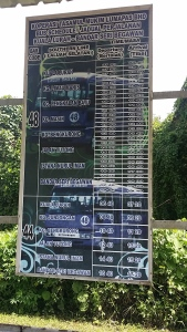 Kuala Lurah関所にあるバス時刻表